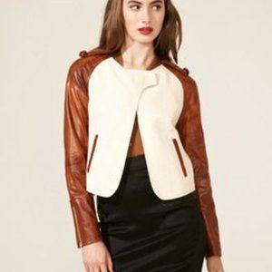 Z SPOKE x ZAC POSEN Cream Brown Faux Leather Top 4